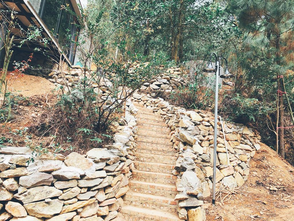 Bậc cầu thang đá dẫn lên Quả thông lớn... Không gian rộng vừa đủ cho 4 người, tầm nhìn toàn cảnh khu rừng, sáng thức dậy ngắm bình minh ở đây thì còn gì tuyệt vời bằng .