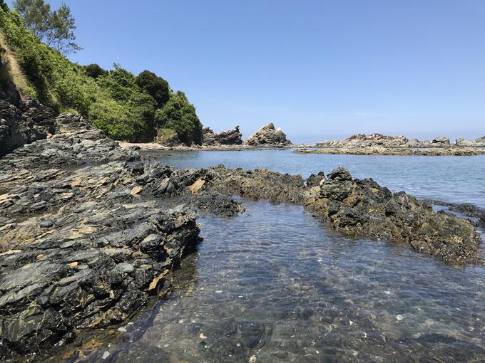 """... hay tham quan ghềnh đá Bàn Than với cấu tạo địa chất đặc biệt, được mệnh danh là Lý Sơn của Quảng Nam bởi khá giống với bãi biển ở đảo nhỏ Lý Sơn. Nơi đây có những bãi biển đẹp hoang sơ thích hợp cho việc cắm trại ngoài trời như hòn Mang, hòn Dứa. Bạn có thể thuê thuyền của người dân để ra chơi hòn đảo này. Cụm danh thắng """"Ghềnh đá Bàn Than, hòn Mang, hòn Dứa"""" đã được công nhận là danh thắng cấp tỉnh."""
