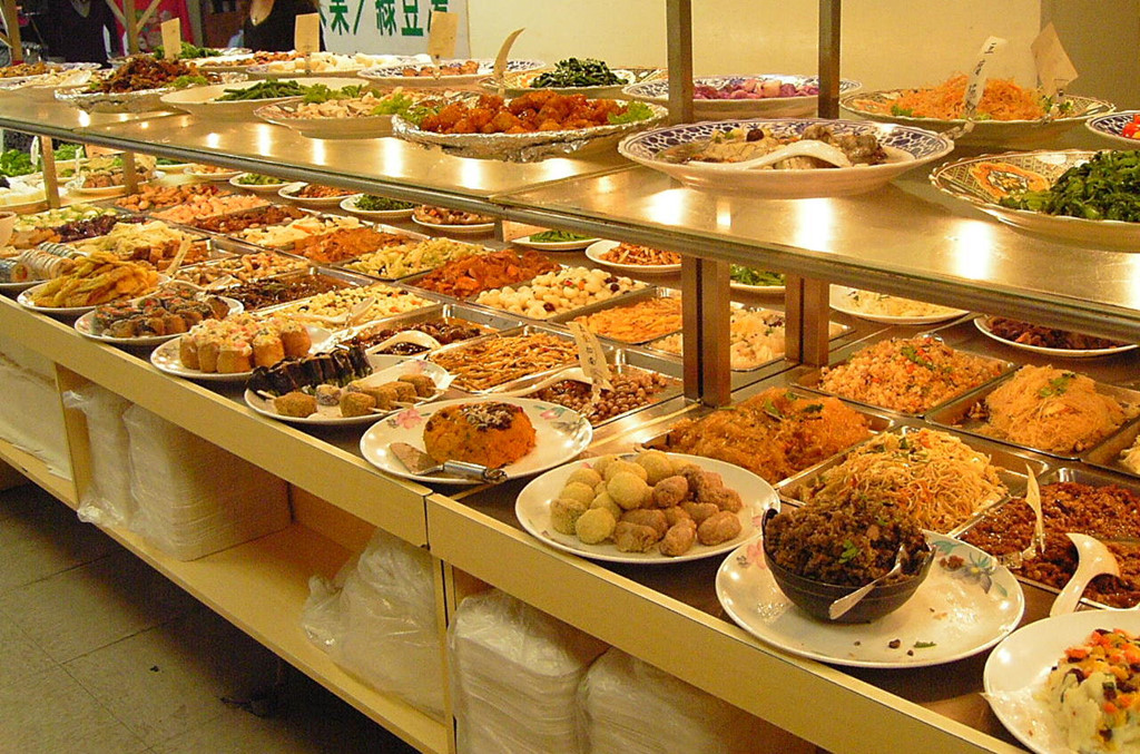 Một bữa tiệc chay buffet ở Đài Loan.