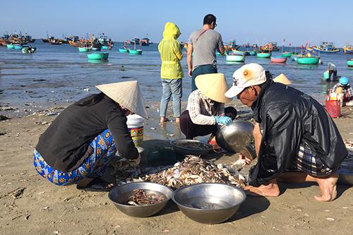 Du khách cũng có thể đến và tham gia vào phiên chợ nhộn nhịp này. Người yêu nhiếp ảnh thì có thể chụp những tấm hình đẹp về cuộc sống của người dân làng chài trong buổi sớm. Ảnh: Meidiana Ten.