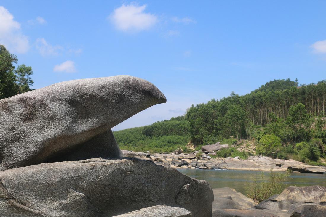 Cá Niên vượt vũ môn hóa đá ở sông Tiên. Ảnh: NVM