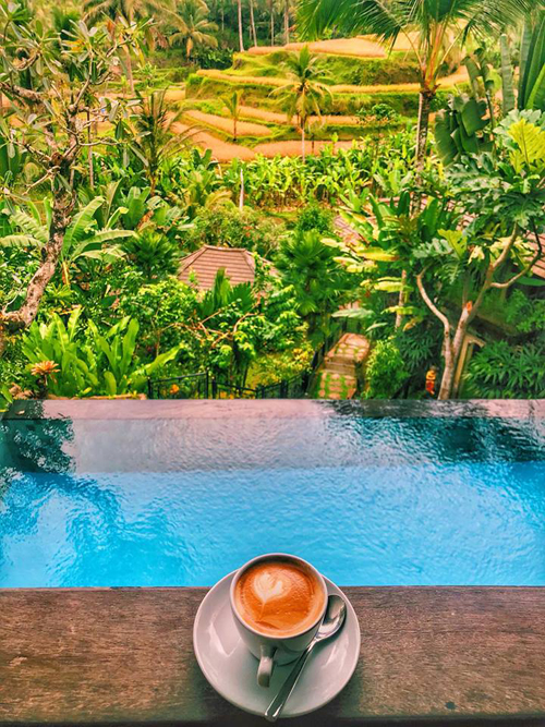 View từ căn villa, phía trước là bể bơi, xa xa là ruộng bậc thang từng tầng trùng điệp giữa không gian xanh mát, đem lại cho du khách cảm giác thoải mái trọn vẹn.