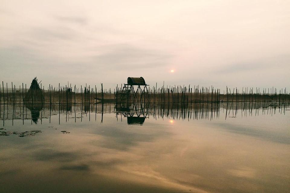 Phá Tam Giang có diện tích khoảng 52 km2, trải dài khoảng 24 km theo hướng Tây Tây Bắc - Đông Đông Nam từ cửa sông Ô Lâu đến cửa sông Hương. Phá Tam Giang mê hoặc du khách bởi vẻ đẹp hoang sơ của những làng chài cổ, quang cảnh những đầm hải sản nhuốm màu hoàng hôn. Ảnh: @ranno_ranno.