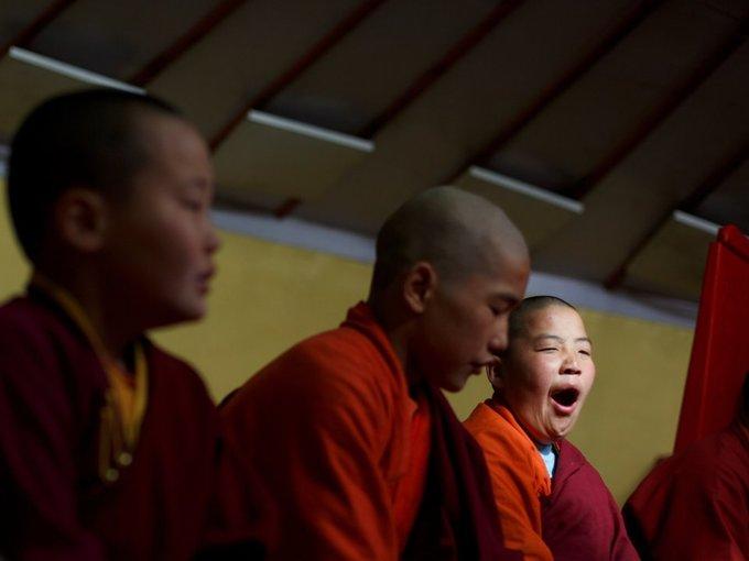 Tayang đánh thức học sinh của anh lúc 7h sáng để kiểm tra những bài học về kinh Phật.
