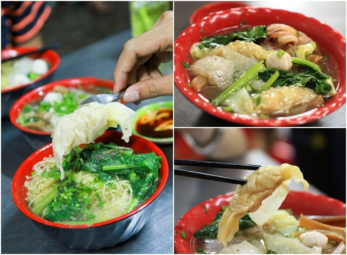 """Sủi cảo Hà Tôn Quyền - quận 11 (14h - 1h30)  Lại một món ăn của người Hoa chiếm trọn cảm tình của các """"cú đêm"""", món sủi cảo nóng hổi trên đường Hà Tôn Quyền - đoạn đường nức tiếng với món ăn này. Tô sủi cảo tự chọn nhiều loại như bong bóng cá, cá viên, đậu bắp... có nước dùng vị thanh, chấm với tương đen, thêm vài lát ớt xắt cay cay đã miệng. Một tô khoảng 30.000 - 45.000 đồng, thêm vắt mì nếu bạn muốn ăn no."""