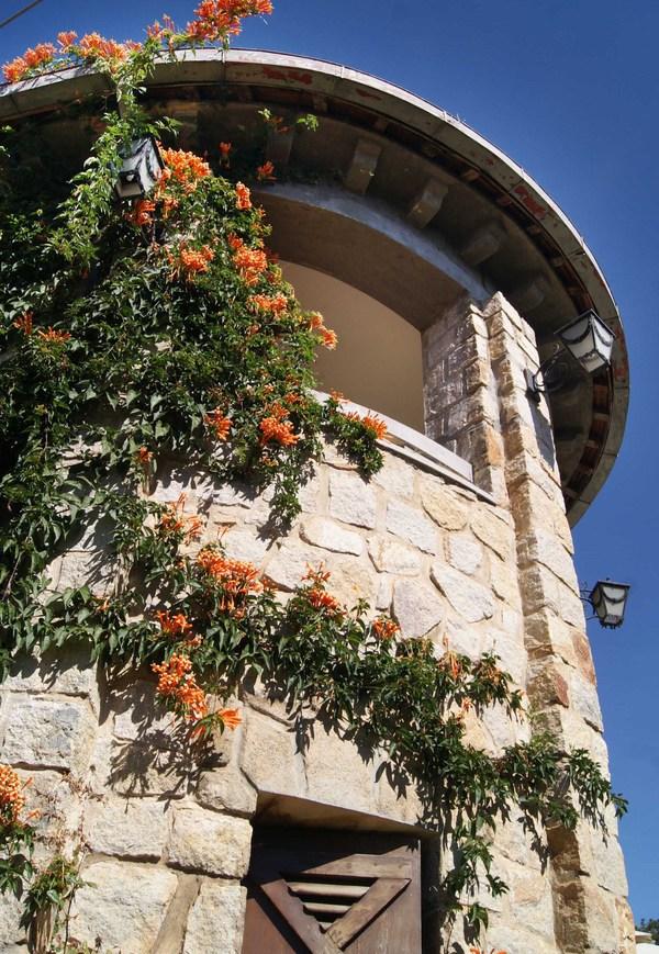 Nhà có nhiều cửa sổ nhỏ xung quanh tường với đủ kích thước và hình dạng vuông, tròn, chữ nhật, vòm cung, chữ thập... Tường được xây dày 60-80 cm. Vật liệu chính để xây biệt thự là đá granite nên màu sắc chủ đạo của công trình cũng mang sắc màu này.