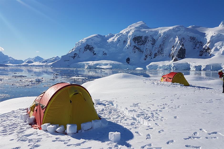 Nam Cực: Là một phần của du lịch trên biển Antarctica, Wildfoot Travel cung cấp cho du khách một đêm cắm trại tại Nam Cực. Du khách sẽ trải qua một đêm đáng nhớ, đầy thử thách khi chống chọi với điều kiện thời tiết khắc nghiệt của Nam Cực mà không có thiết bị sưởi ấm. Ảnh: Ignacio Marino/Oceanwide Expeditions.
