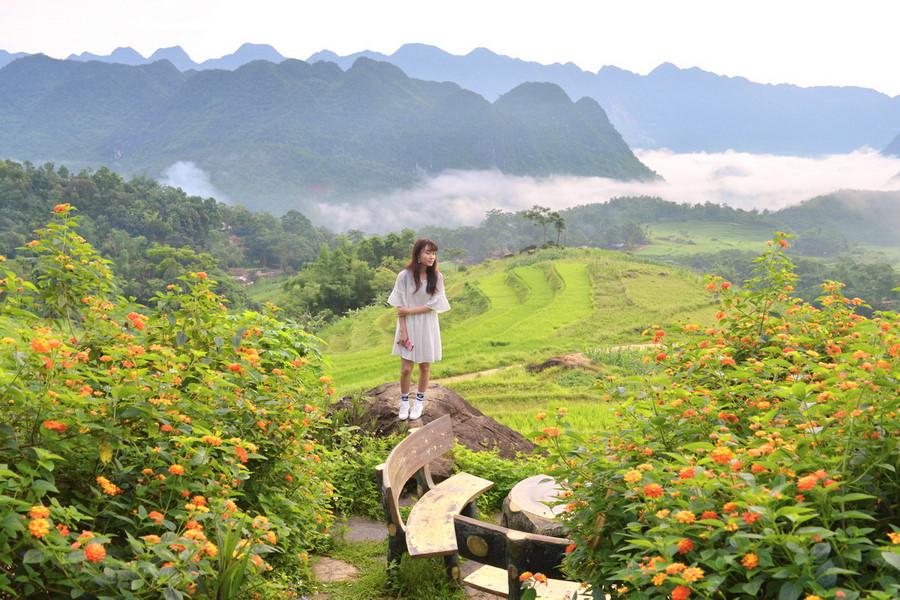 Cảnh núi non gắn kết với mây trời, thửa ruộng xanh xanh xen kẻ với mảng màu vàng rực rỡ, chiếc ghế ngồi cùng bàn tròn thơ mộng nằm cạnh bên khóm hoa tạo nên bức tranh phong cảnh hữu tình.