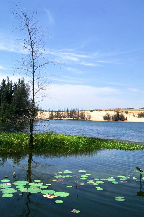 """Do """"Bàu"""" trong tiếng địa phương nghĩa là """"hồ"""" nên từ rất lâu, người dân đã gọi tiểu hồ là Bàu Ông và đại hồ là Bàu Bà. Bàu Bà rộng hơn Bàu Ông và cũng chứa lượng nước nhiều hơn. Bàu Bà có diện tích 70 ha, nơi rộng nhất là 500 m, độ sâu trung bình là 5m. Nơi sâu nhất của Bàu Bà là 19m vào mùa mưa."""