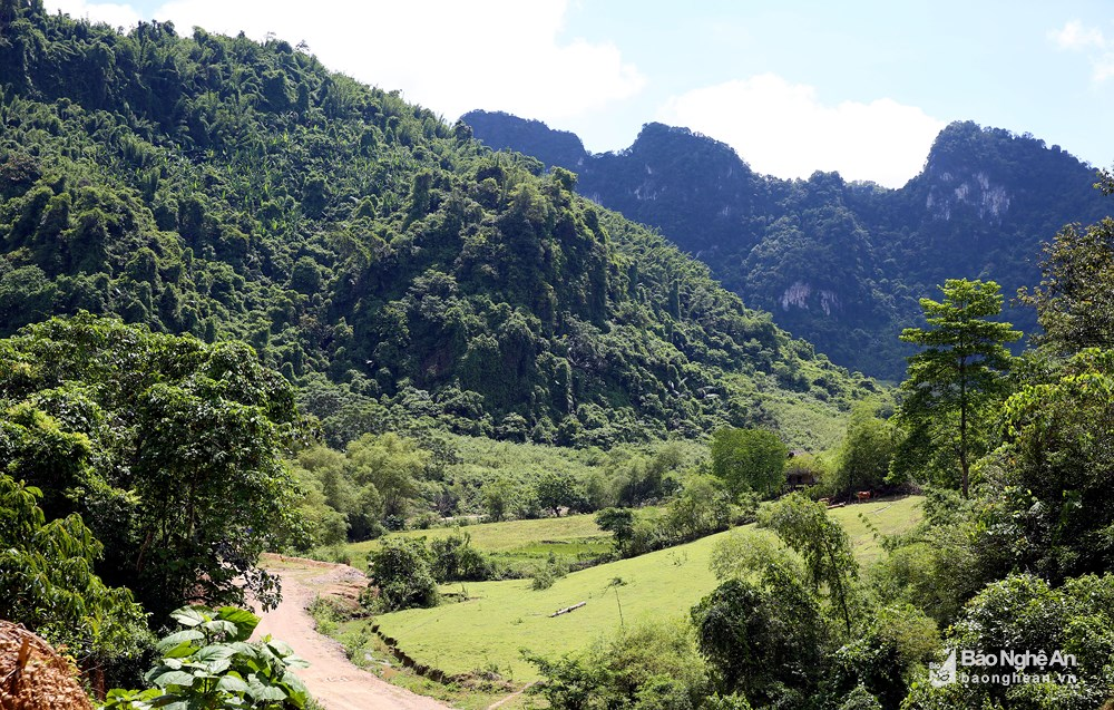 Dãy núi ở khu vực Thung Bừng, thuộc địa bàn bản Tân Sơn, xã Môn Sơn (Con Cuông) có hệ thống hang động khá phong phú. Gần đây, người dân địa phương phát hiện thêm một hang đá rất đẹp, bà con nơi đây đặt tên là hang Thung Bừng. Ảnh: Phương Kiên