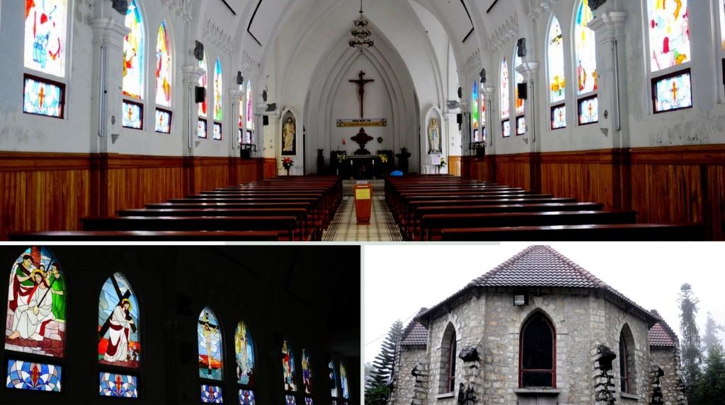 Kiến trúc nhà thờ cổ giữa lòng phố núi Sa Pa. Ảnh: Lam Linh.