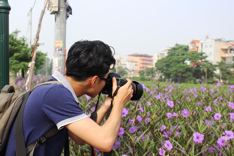 Một tay máy tranh thủ chụp hình con đường hoa vào buổi sớm khi những bông hoa đang nở rộ.