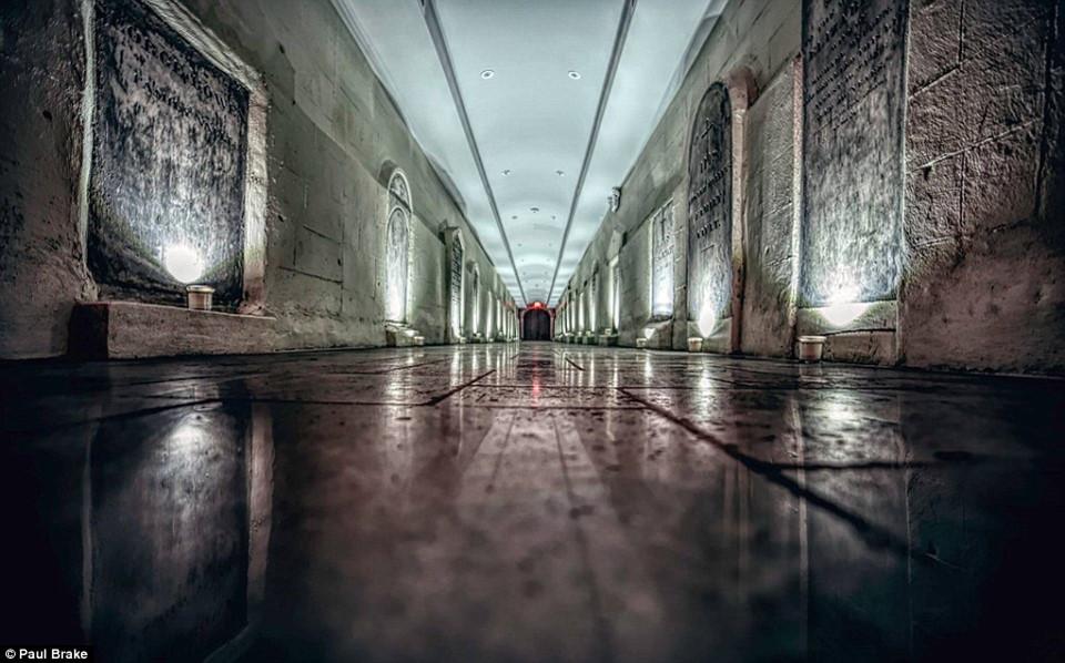 Bức ảnh Paul chụp thể hiện góc nhìn đầy hoang dại tại hầm mộ cũ bên trong Thánh đường St. Patrick.