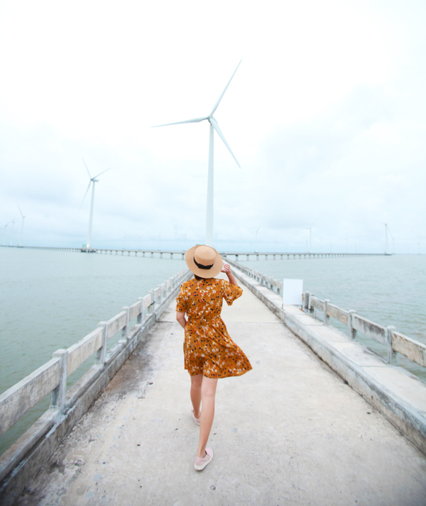 Đây là cánh đồng quạt gió lớn nhất Việt Nam với 62 trụ turbine gió. Mỗi trụ cao 82 m, nặng 205 tấn, cánh quạt dài 41,7 m. Dự án điện gió khởi công xây dựng từ năm 2010 nhưng đến vài năm trở lại đây, nơi này mới được nhiều du khách biết đến.