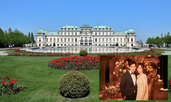 Cung điện Belvedere ở thủ đô Vienna (Áo) được xây dựng vào đầu thế kỷ 18, bởi kiến trúc sư Baroque nổi tiếng - Johann Lucas von Hildebrandt - với mục đích làm nơi nghỉ dưỡng mùa hè của Hoàng tử Eugene xứ Savoy (1663-1736). Đây là một trong những điểm du lịch hút khách nhất nước Áo, cũng là nơi cặp sao Hoa ngữ Đường Yên - La Tấn tổ chức đám cưới đẹp như mơ vào ngày 28/10.