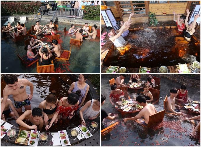 Trước đó, một khu du lịch ở Hàng Châu (Chiết Giang) cũng từng có dịch vụ vừa tắm vừa ăn lẩu ngay trong bể ngâm nước nóng đầy táo tàu, thảo dược nổi lềnh bềnh trên mặt nước.