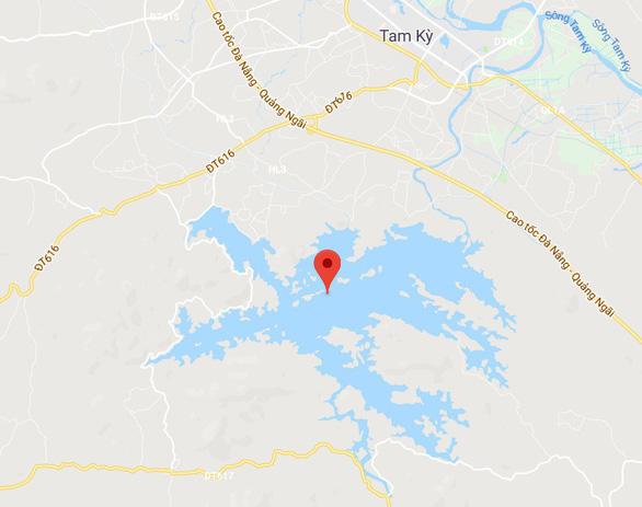 Vị trí hồ Phú Ninh (dấu đỏ) trên bản đồ - Ảnh chụp màn hình