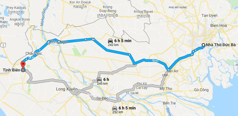 Bản đồ hướng dẫn 3 cách đi từ TP.HCM (Nhà thờ Đức Bà) tới Tịnh Biên (An Giang) - Ảnh chụp màn hình