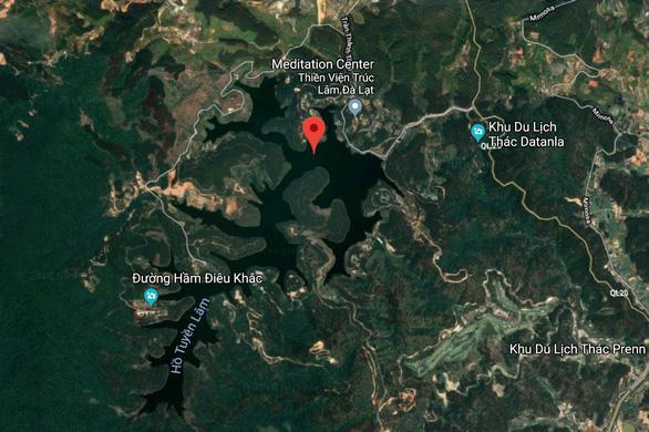 Vùng hồ Tuyền Lâm trên ảnh chụp vệ tinh