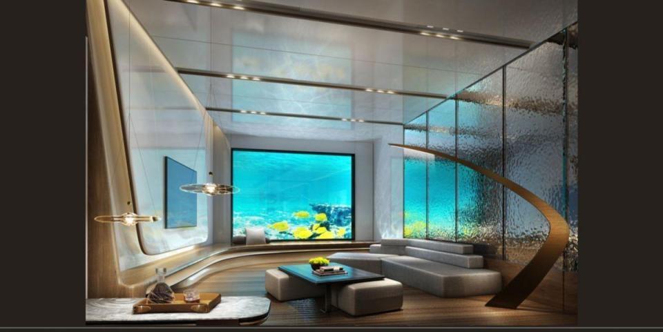 Hai tầng cuối cùng của khách sạn nằm dưới nước. Tại đây cũng có một nhà hàng hải sản mang tên Mr Fisher.