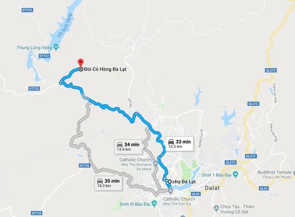 Bản đồ chỉ dẫn đi từ chợ Đà Lạt đến ngắm đồi cỏ hồng gần Thung lũng vàng