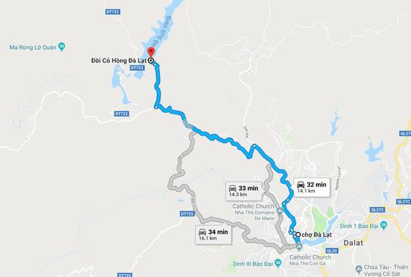Bản đồ chỉ dẫn đi từ chợ Đà Lạt đến ngắm đồi cỏ hồng tại hồ Suối Vàng