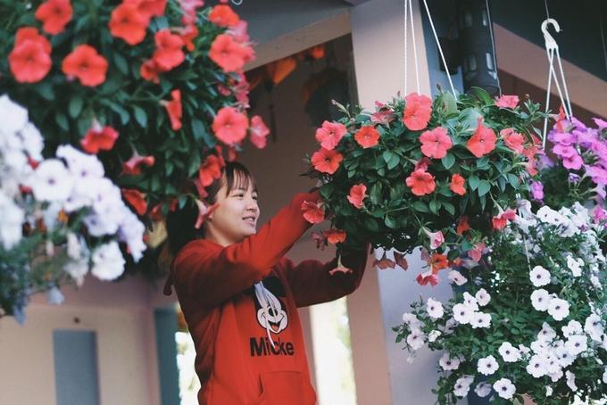 Để duy trì hoa nở quanh năm, mỗi ngày nhân viên của quán phải chăm sóc, tưới trồng thật kỹ từng chậu.