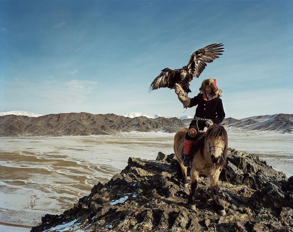 Một thợ săn huấn luyện đại bàng ở làng Altai, Bayan-Ulgii, phía tây Mông Cổ.