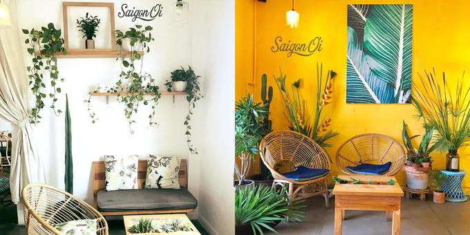 Saigon Ơi  Nằm trong chung cư cũ số 42 Nguyễn Huệ, quận 1, quán có cách bài trí trẻ trung, gần gũi thiên nhiên. Tên quán như một lời gọi thân thương mà ai nghe qua đều thấy có cảm tình và tò mò muốn đến. Từng góc ở đây đều trở thành phông nền chụp ảnh đẹp cho khách.