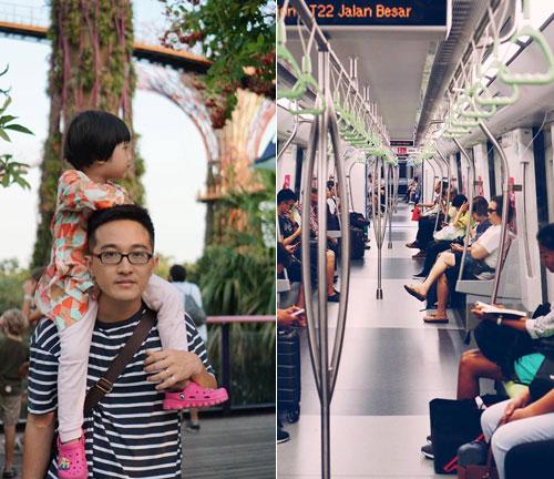 Nhà chị Hạnh chủ yếu di chuyển bằng phương tiện công cộng, đi bộ trong thời gian ở Singapore. Trên ảnh là chồng và con gái, bé Kẹo của chị. Ảnh: NVCC.
