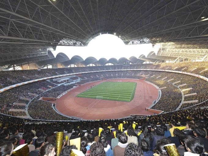 Với 150.000 chỗ ngồi, đây là sân vận động lớn nhất trên thế giới theo sức chứa với tổng diện tích hơn 207.000 m2. Ảnh: KCNA.