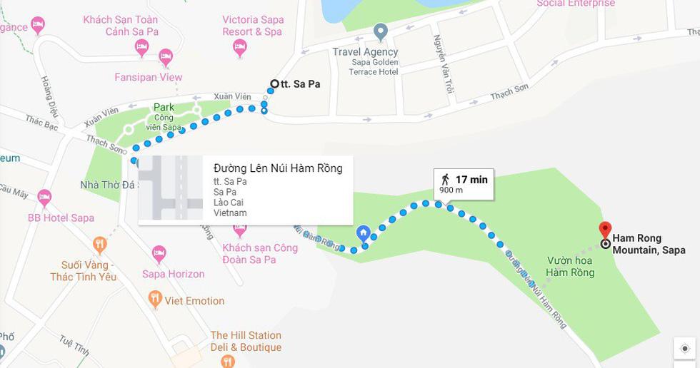 Bản đồ hướng dẫn đường lên núi Hàm Rồng, Sa Pa - Ảnh chụp màn hình