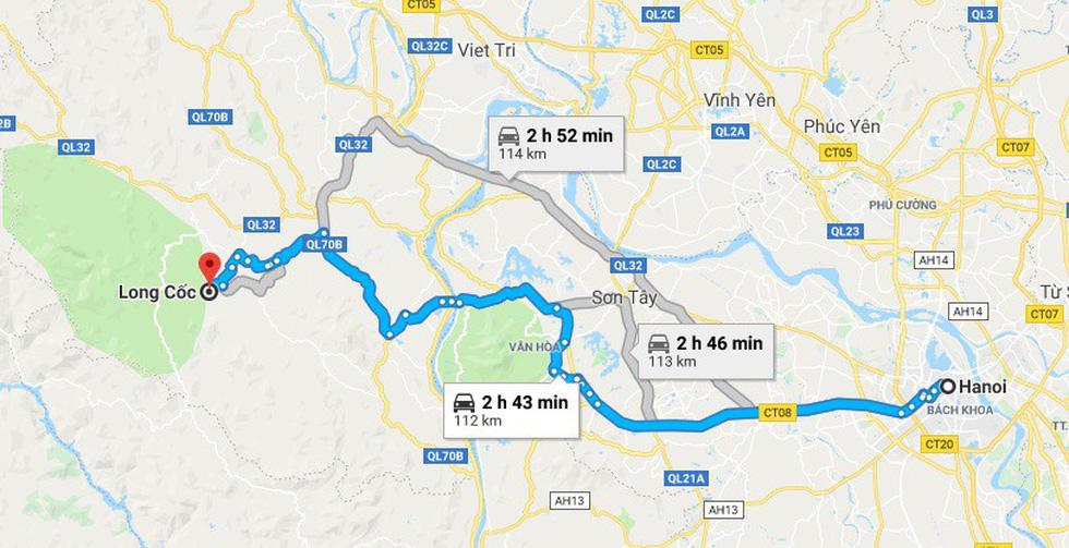 Đường đi tham quan đồi chè Long Cốc xuất phát từ Hà Nội - Ảnh chụp màn hình