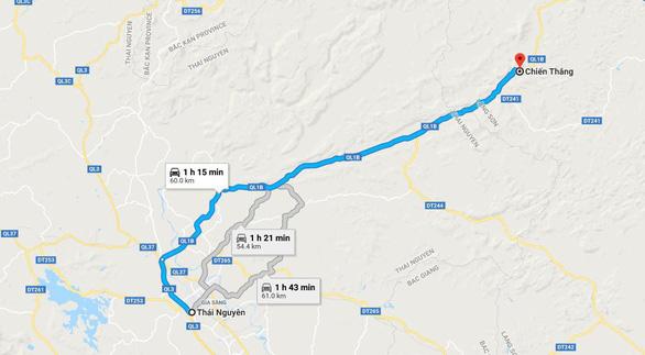 Hướng dẫn đường đi TP Thái Nguyên đến vườn quýt ở xã Chiến Thắng, huyện Bắc Sơn, tỉnh Lạng Sơn - Ảnh chụp màn hình