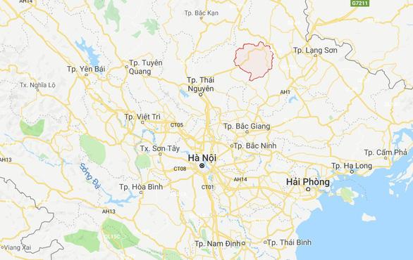 Bắc Sơn (Lạng Sơn) - vị trí đánh dấu đỏ trên bản đồ - cách Hà Nội 160km, với khoảng 3 tiếng đi ôtô - Ảnh chụp màn hình