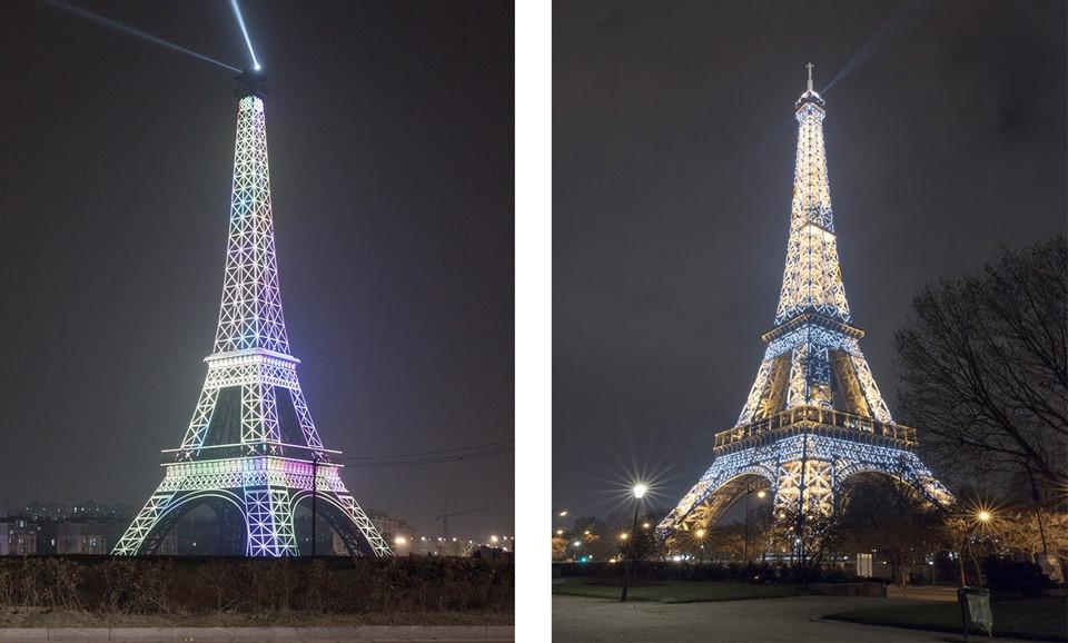 Thực tế, các tác phẩm của nhiếp ảnh gia người Pháp tập trung vào 3 yếu tố chính: Tháp Eiffel, những tòa nhà của người Hungary và các công viên lớn, sự pha trộn của cảm hứng giữa vườn Tuileries với cung điện Versailles.