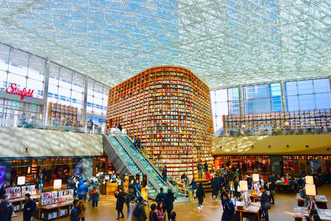 Thư viện siêu hot này nằm ở tầng trệt trung tâm thương mại COEX Mall (Gangnam, Seoul). Đây cũng là một địa chỉ ăn chơi, mua sắm sầm uất bậc nhất ở thủ đô. Tuy nhiên, tách biệt hoàn toàn với sự náo nhiệt của không gian xung quanh, bước vào Starfiled, bạn sẽ đến với một thế giới hoàn toàn khác. Du khách tới đây dù chỉ tham quan, không có nhu cầu nghiên cứu hay đọc sách cũng luôn ý thức giữ gìn sự yên tĩnh, tránh làm ồn, phiền đến sự tập trung của những người xung quanh.