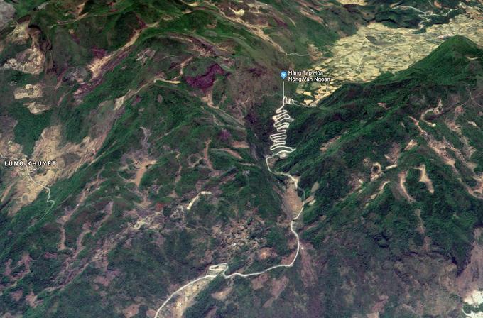 Hình ảnh đường đèo Mẻ Pja quanh co trên bản đồ.
