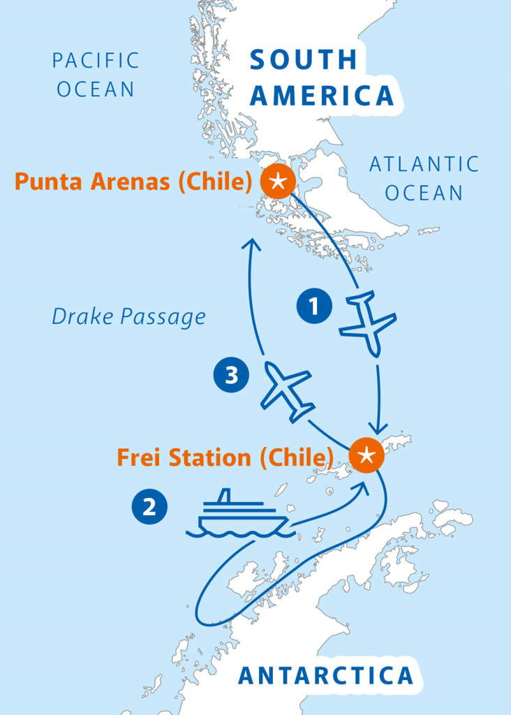 Bản đồ lộ trình cuộc chinh phục Nam Cực trong 8 ngày.