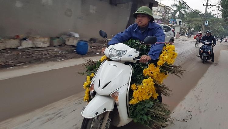 Hối hả chở hoa mới hái ra chợ