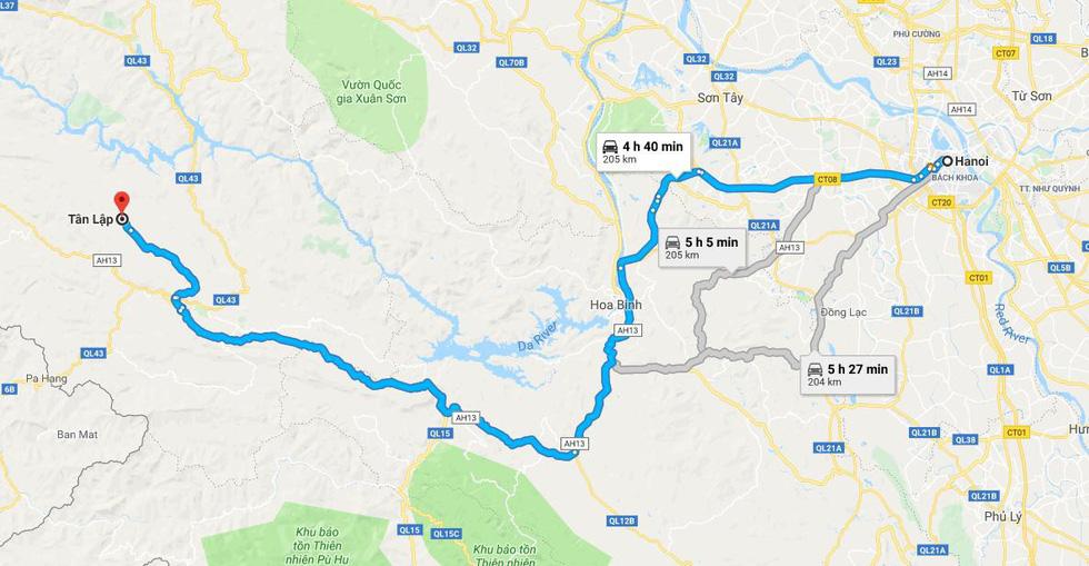 Bản đồ hướng dẫn đường đi từ Hà Nội đến xã Tân Lập, nơi có các vườn mận trắng đẹp ở bản Phiêng Cành, Nà Ka - Ảnh chụp màn hình