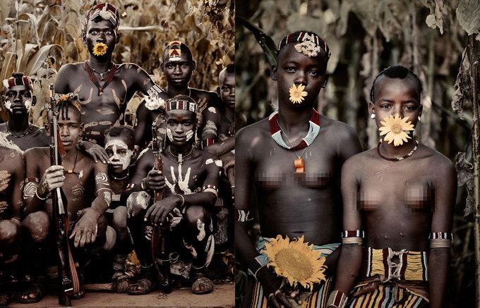 Trên ảnh là bộ tộc Bana, sống ở thung lũng Omo, phía nam Ethiopia. Lễ hội quan trọng nhất của họ là Dimi, thời điểm đánh dấu sự trưởng thành của các cô gái.