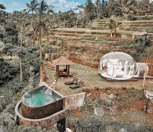 Toàn cảnh khu nghỉ của Hoàng Kim nhìn từ trên cao. Căn phòng nằm ở lưng chừng đồi, phía sau là ruộng bậc thang đặc trưng ở Bali.