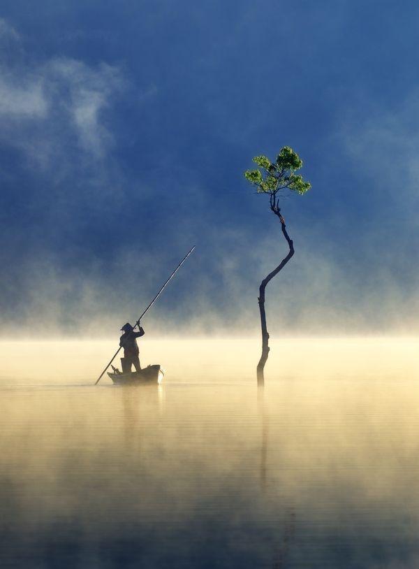 Trong chuyến đi Đà Lạt, anh Nguyễn Tấn Tuấn (sống tại TP HCM) ấn tượng với hình ảnh chiếc thuyền câu nhỏ lướt nhẹ trên mặt hồ Tuyền Lâm giữa khung cảnh sương trôi bồng bềnh sáng 17/2. Anh đăng bức ảnh trên mục Your Shot ngày 20/2 của tạp chí National Geographic và sau đó hình được chọn vào top ảnh đẹp trong tuần ngày 22/2.