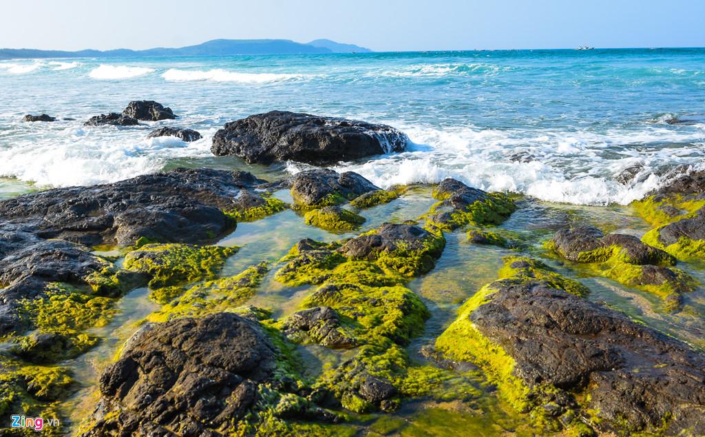 Từng đợt sóng biển vỗ vào bãi đá xanh rêu tung bọt trắng xóa tạo nên không gian thiên nhiên lãng mạn, trữ tình làm say lòng du khách.