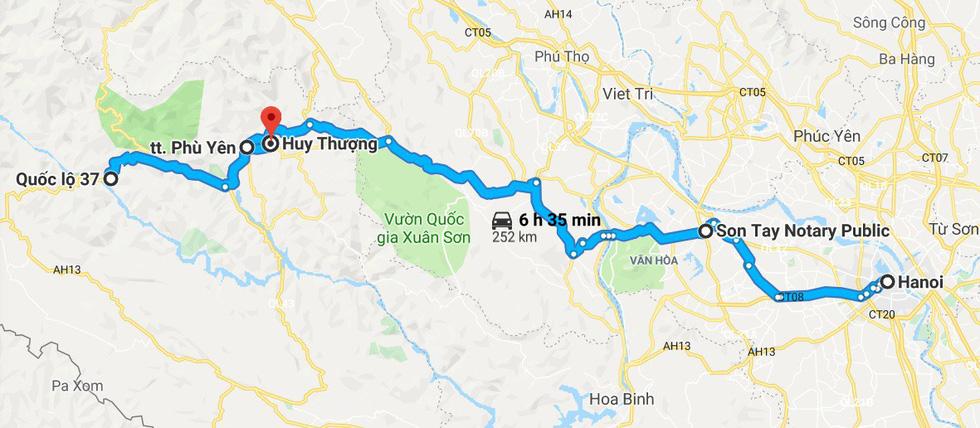Hành trình từ Hà Nội đến đèo Ban - Ảnh chụp màn hình