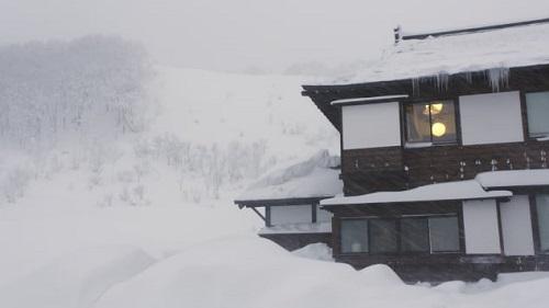 Những ngôi nhà ngập trong tuyết ở Aomori. Ảnh: CNN