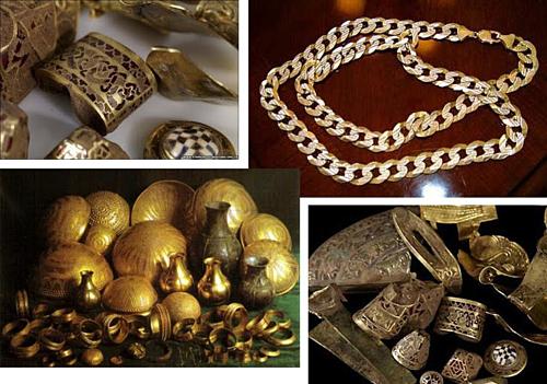 Chính phủ Ấn Độ đã thu được 300 kg đồng tiền vàng và nhiều trang sức quý giá khác. Ảnh: Amusing Planet.