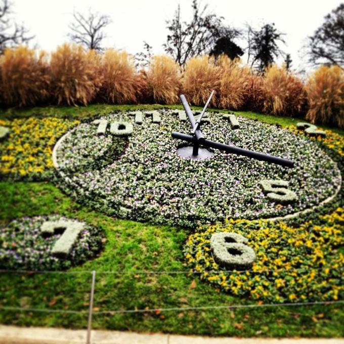 Công viên Jardin Anglais với chiếc đồng hồ hoa khổng lồ - biểu trưng cho ngành chế tạo đồng hồ của Thụy Sỹ... Ảnh: Pinterest.