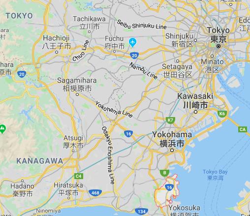 Thành phố ven biển Kanawa (khoanh đỏ) trên bản đồ - Ảnh chụp màn hình